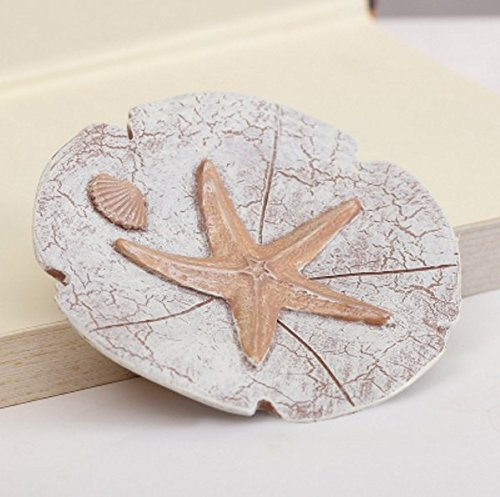 Higere Soap Dish Resin Handmade Soap Tray Soap Holder Soap Box Soap Dish Soap Container-Round Shape Starfish Painted