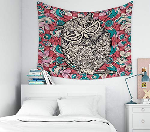 Douecish Wall Tapestry Hanging, Decoration owl Glasses Coloring Page Book Poster Design Bird Multicolored Kaleidoscope Pattern for Bedroom Living Room Decor Wall Hanging Tapestry 80X60 -
