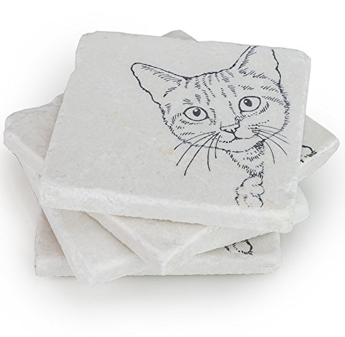 Cat Coasters for Drinks - Stone Coaster Set of 4 - Crazy Cat Lady Gifts, Cat Lover Gifts (Decoration Cat Themed)
