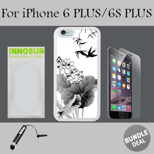 Black And White Chinoiserie Bird Custom iPhone 6 PLUS Cases/6S PLUS Cases-White-Plastic,Bundle 3in1 Comes with HD Tempered Glass/Universal Stylus Pen by innosub (7971 Glass)