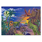 """Melissa & Doug Land of Dinosaurs Jigsaw Puzzle (Wipe-Clean Surface, 60 Pieces, 10.9"""" H x 7.4"""" W x 1.8"""" L, Great Gift for Girls and Boys - Best for 6, 7, 8 Year Olds and Up)"""