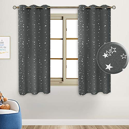 BGment Kids Blackout Curtains for Bedroom - Silver Star Printed Thermal Insulated Room Darkening Grommet Curtains for Living Room, Set of 2 Panels (42 x 63 Inch, Grey)