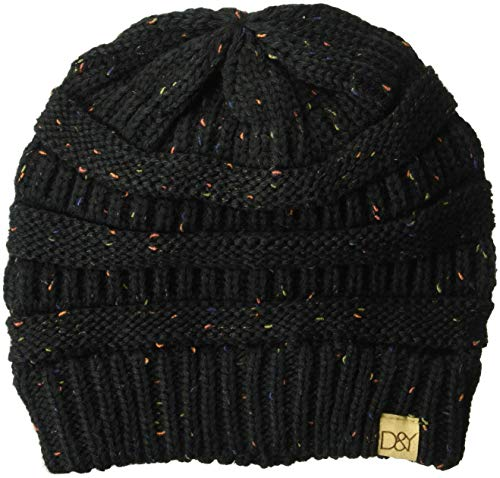 D&Y Women's David & Young's Colorful Confetti Soft Stretch Slinky Beanie, Black, one Size