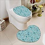 L-QN 2 Piece Bathroom Toilet Mat Islamic Arabian Inspired Pattern Rounded Modern Ornaments Design White Blue Non Slip Comfortable SND Soft