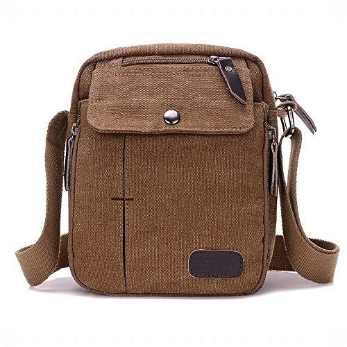Kai paquete diagonal del bolsillo bolso de colorido Hung de los hombres multifuncional del campus lona pequeño Marrón Cwd6qZB