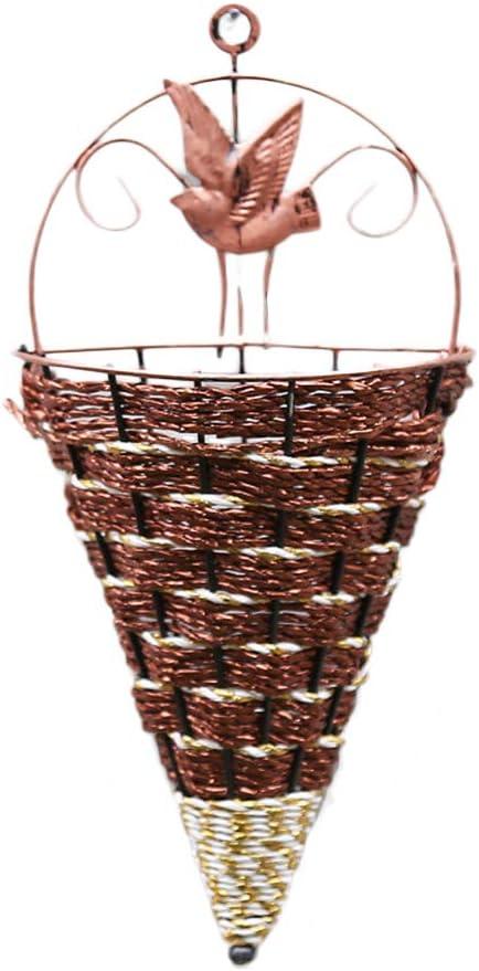 Vosarea Macetero de Pared Colgante de Hierro Decoración de Interior de Mimbre Cesta Cesta de Flores de Mimbre Jardinería para el hogar Decoración (marrón)