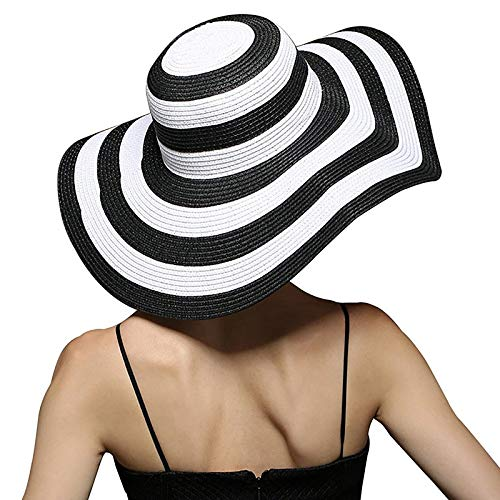 Striped Hat Floppy - Mecca Women Big Brim Floppy Sun Beach Hat Black & White Striped Straw Hat WSH001