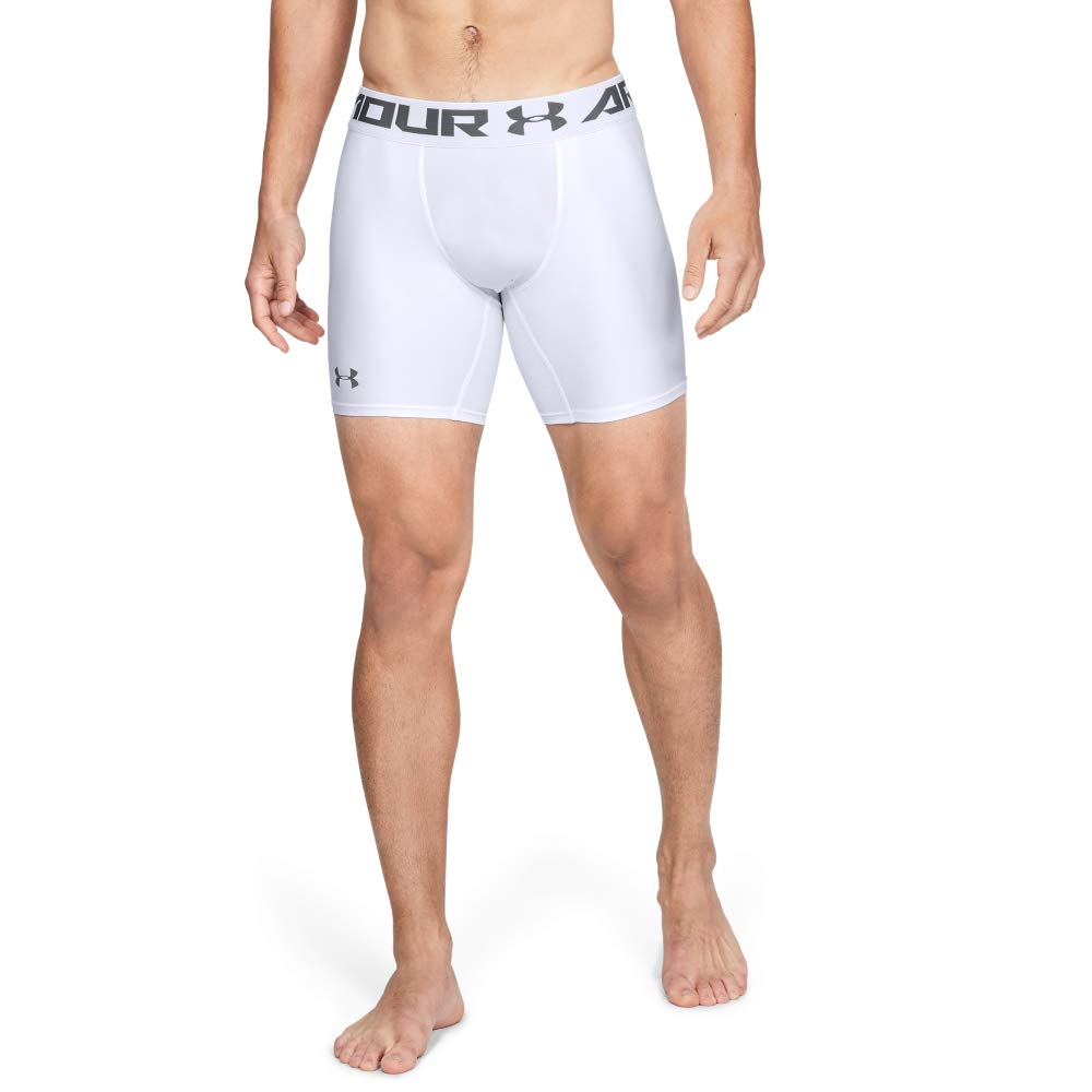 Under Armour Men's HeatGear Armour 2.0 6-inch Compression Shorts, White (100)/Graphite, 3X-Large by Under Armour