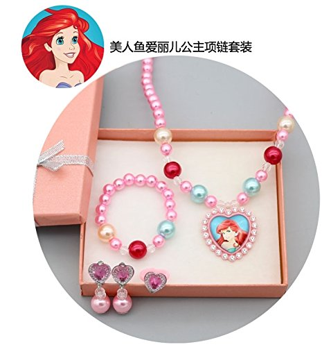 Children Girl Princess Necklace Pendant Bracelet Bangle Ring Jewelry Set Gift Girls Ear Clip Earrings earings Dangler Eardrop Sophia (Ariel Child Princess Jewelry Gift Box
