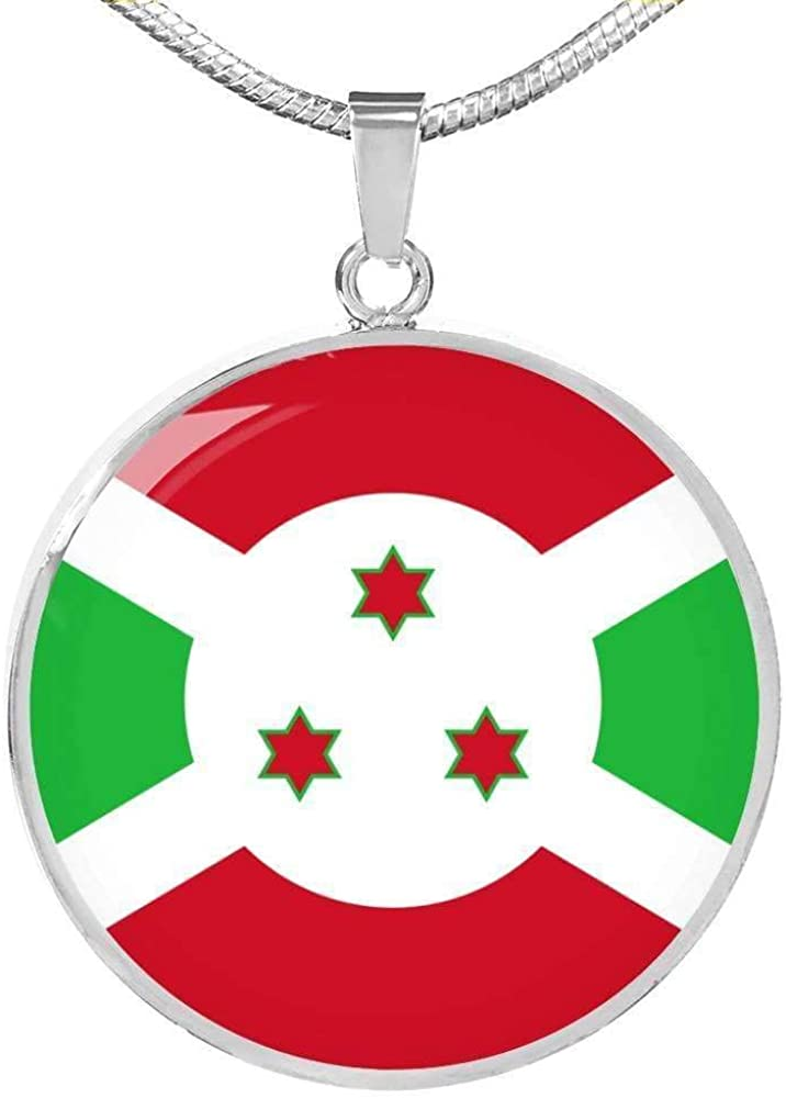 Express Your Love Gifts Burundi Flag Necklace Burundi Flag Engraved Stainless Steel 18-22