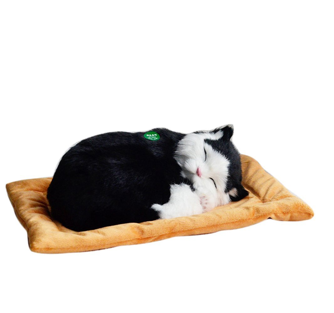 style6 Shooneys Emulation Sleeping Breathing Lazy Cute Cat Toy Pet with Woolen Bed for Kids Child Presents