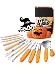 Halloween Pumpkin Carving Kit,14 Pieces Professional Stainless Steel Reusable Pumpkin Carving Tools Kit for Halloween Decoration,Easily Sculpting Jack-O'-Lanterns for Kids and Adults