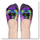 Velocitee DJ Pug Dog Colourful Neon Music Clubbing Women No-Show Casual Liner Socks Low Cut Ankle Socks Boat Socks
