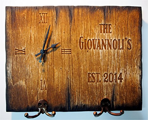 Personalized Coat rack, Key holder, Dog Leash Holder, Wall Clock | Handmade distressed wood clock | Rustic decor (Wooden Hand Holder Painted Leash)
