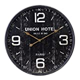Kiera Grace HO60203-9 Union Hotel Metal Wall Clock, Large, Black