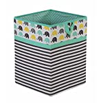 Bacati Elephants Unisex Fabric Storage Toy Chest to Keep Your Childs Room Organized, Mint/Yellow/Grey