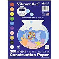 Roselles 9x12 Vibrant Art Heavyweight 300 Sheets Assorted Construction Paper Value Pack (01300)