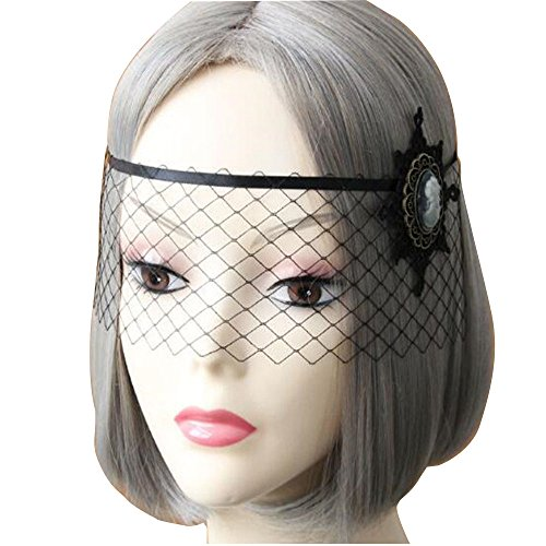 Hihappiness Halloween Women Sexy Black Lace Gauze Mask Headband Hair Bands Makeup Prom Party Elegant Headwear