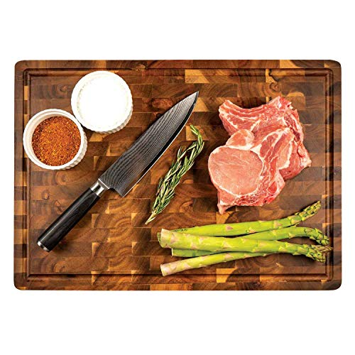 Zelancio Handcrafted Butcher Block Cutting Board with Drip Catch Groove, 20 x 14 x 2.25 Inches, Thick Chopping Board, Highly Durable and Versatile Chopping Tray