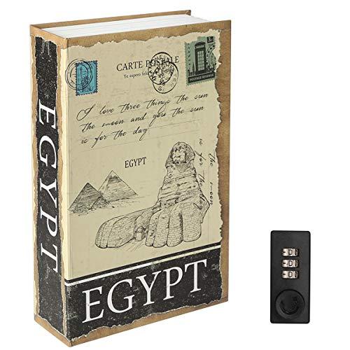 Diversion Book Safe with Combination Lock, Decaller Safe Secret Hidden Metal Lock Box, 9 1/2