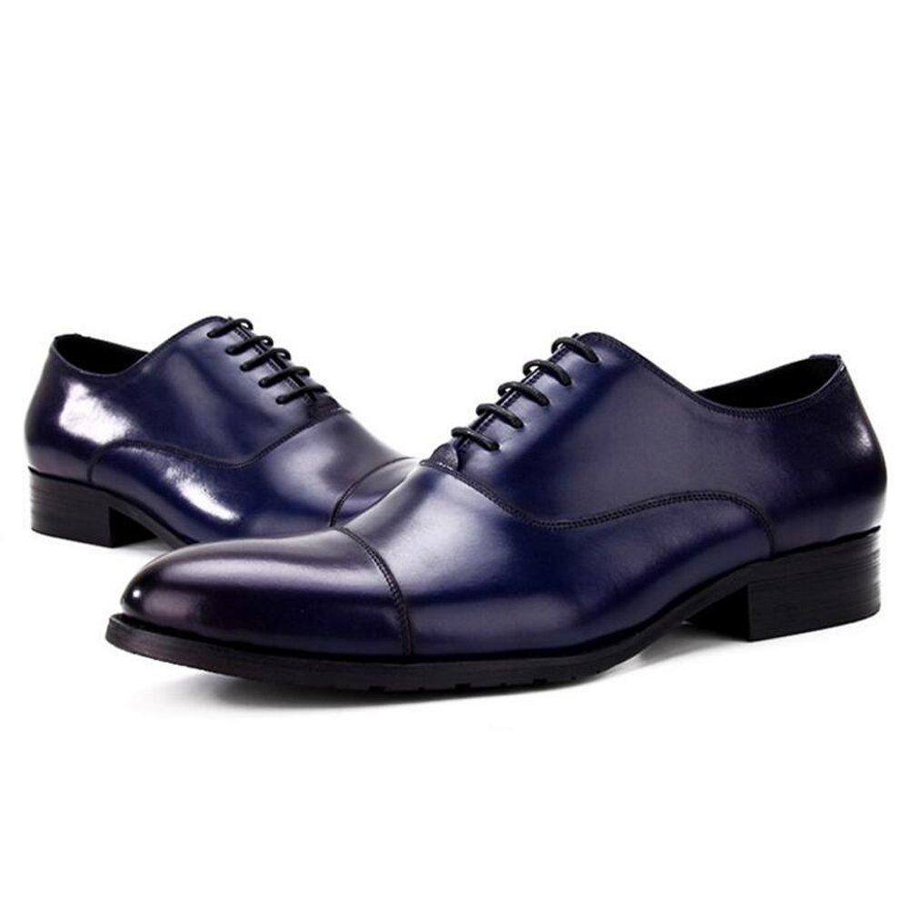 GAOLIXIA Zapatos de cuero de gama alta para hombres Negocio Europa y Estados Unidos está instalado La primera capa de zapatos de cuero Zapatos de fiesta para hombres, 4 estaciones Tamaño 6-12 ( Color : Azul , tamaño : 43 ) 43|Azul
