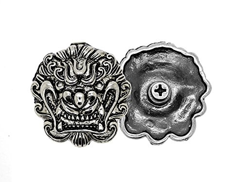 CRAFTMEmore Chinese Lion Dragon Head Concho Screw Back Leather Craft Embellishments 1-1/4 Inches 2PCS (Black Silver)