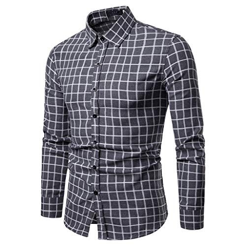- LEXUPA Men's Fashion Plaid T Shirt Leaf Long Sleeve Tops Casual Open Shirts(Gray,Medium)