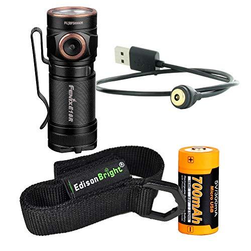 (Fenix E18R 750 Lumen CREE LED USB rechargeable EDC/keychain Flashlight EdisonBright brand holster bundle)