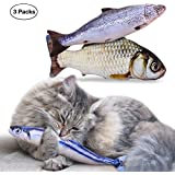 Refillable Catnip Toy - Interactive Cat Toys Fish Cat Toy Catnip Toys Refillable Fish Toy for Cats to Play with 3 Packs 11.8inch - K&L