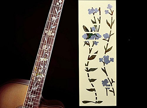 Fretboard Markers Inlay Sticker Decal for Guitar & Bass ,Ornate Bird & Flower (Full size)