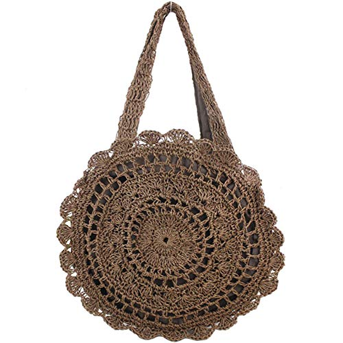 FiveloveTwo Womens Ladies Lightweight Handmade Handbag Large Crochet Shoulder Summer Bag Straw Beach Shopper Clutch Top Handle Tote Bags and Purse Dark ()