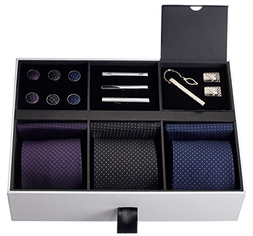 - Premium Men's Gift Tie Set Luxury Silky Necktie Set Pocket Squares Tie Clips Cufflinks Deluxe Box Unique Neckties Business Gift For Him Valentine's Birthday Anniversary Ties Gift Idea For Men