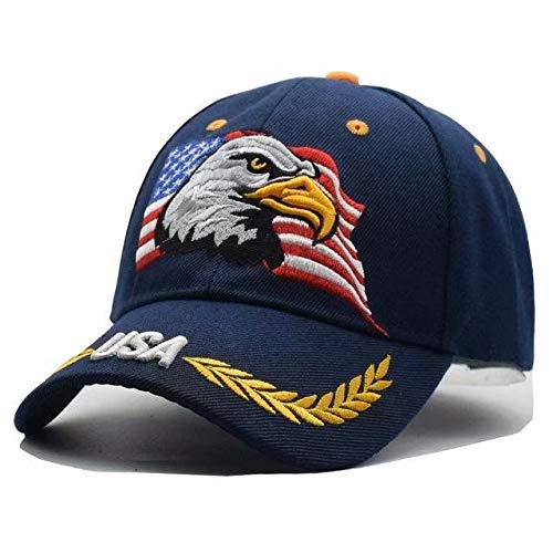 DFLIVE Embroidered USA American Eagle and American Flag Adjustable Baseball Cap with -