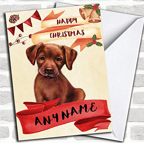 Watercolour Rustic Dog Chocolate Labrador Puppy Personalized Christmas Card