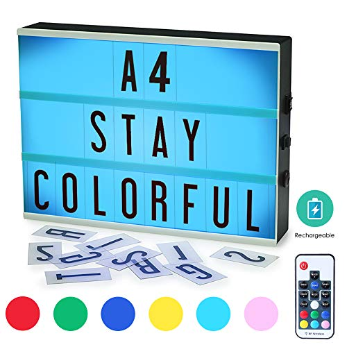 Cinema Light Box, ROTEK A4 Size 7 Colors Remote-Controlled LED Rechargeble Light Box with 189 Letters,Built-in Battery DIY Light Box for Wedding, Halloween, Chrismas,Dorm Room Decorations]()