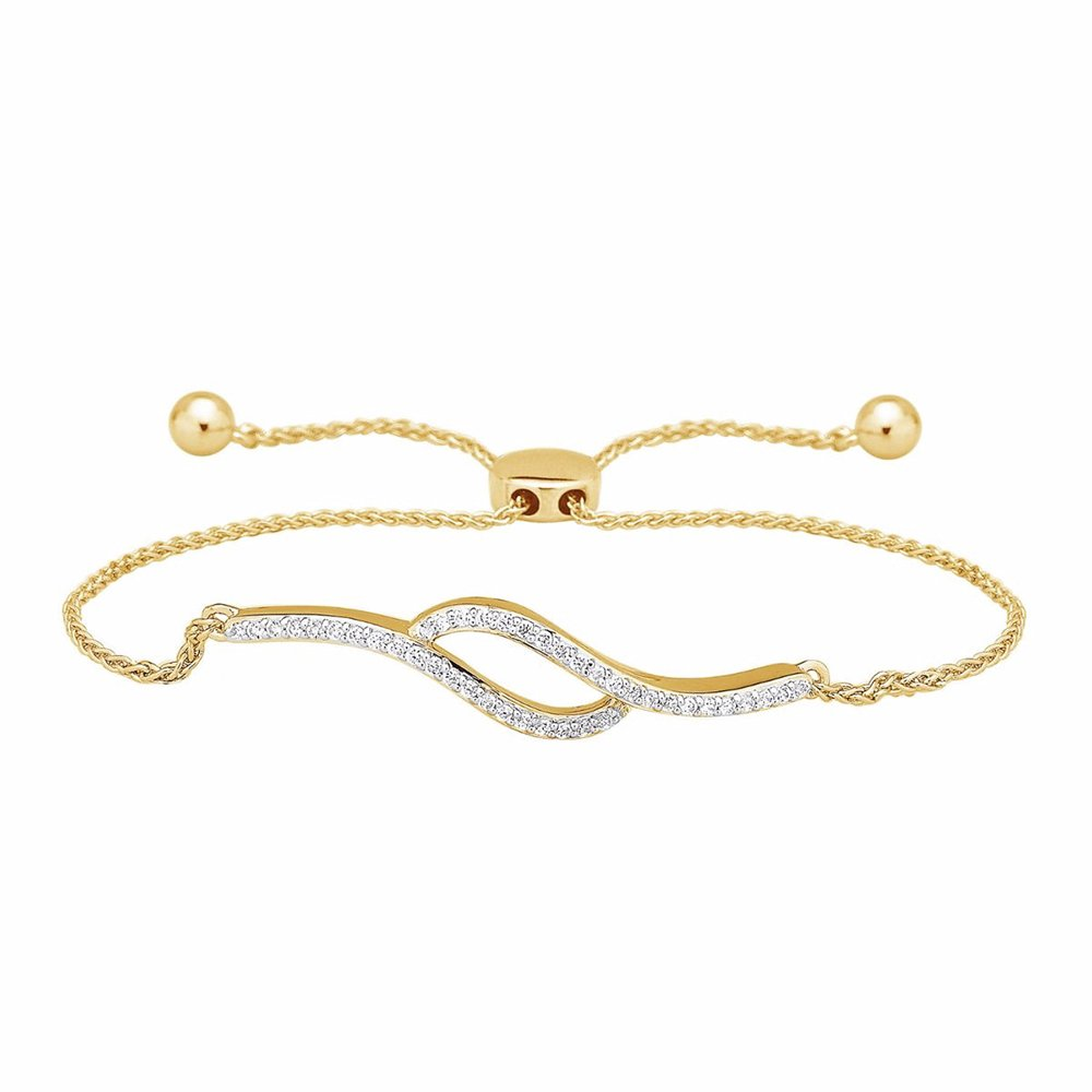 1/4 Ct Round Natural Diamond Bypass Bolo Style Bracelet In 14K Yellow Gold Over