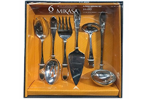 Mikasa Bravo 6 Piece Serving Set in Stainless (Spoon Fork Ladle)