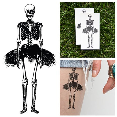 Tattify Dancing Skeleton Temporary Tattoo - Tiny Dancer (Set of 2) - Other Styles Available and Fashionable Temporary Tattoos - Tattoos that are Long Lasting and (Flash Dancer Costume Ideas)