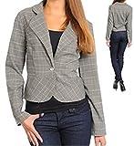 Long Sleeve Plaid Scoop Bottom Blazer Jacket (m)