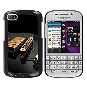 TopCaseStore / la caja del caucho duro de la cubierta de protección de la piel - Music Gold Guitar - BlackBerry Q10