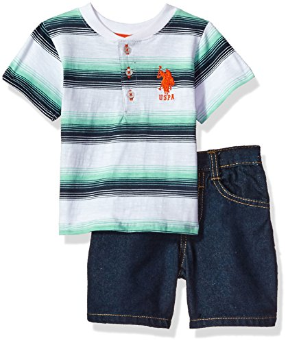 Embossed Pocket Jeans (U.S. Polo Assn. Baby Boys' Striped Henley with 5 Pocket Denim Short, White, 18M)