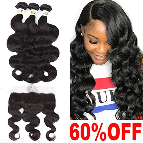 FDX 9a Brazilian Virgin Human Hair Bundles with Lace Frontal Pre Plucked Body Wave,100% Unprocessed Weave Hair Human Bundles with 13x4 Frontal Free Part Ear to Ear Natural Color (10 12 14+10inch). from FDX