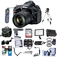 Nikon D610 DSLR Camera with 24-85mm VR Lens - BUNDLE with 32GB SDHC Card, Camera Case, Spare Battery, 72mm Filter Kit, Wired Remote, Shotgun Mic, Video Light, Tripod, Flip Flash Bracket, And More