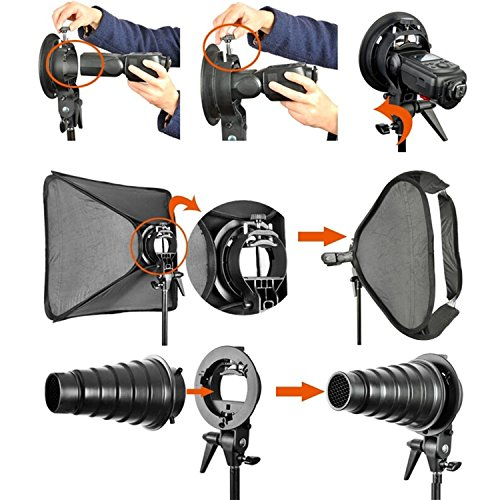 Fomito Godox Pro Floading Adjustable 80cm x 80cm Flash Soft Box Kit with S-Type Bracket Bowen Mount Holder for Camera Studio Photography by Fomito (Image #4)
