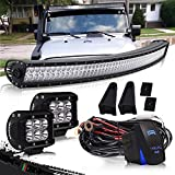 DOT 52' Inch Curved Led Light Bar Combo Grill Windshield Bumper Light Bar + 4Inch Offroad Led Fog Light + 1x Rocker Switch + 1x Wiring Harness for Truck Ford Toyota Tundra Chevy Boat Jeep GMC UTV