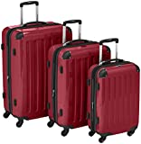Set of 3 hard-shell suitcase Trolley glossy red suitcase Hauptstadtkoffer incl combination lock 4 wheels