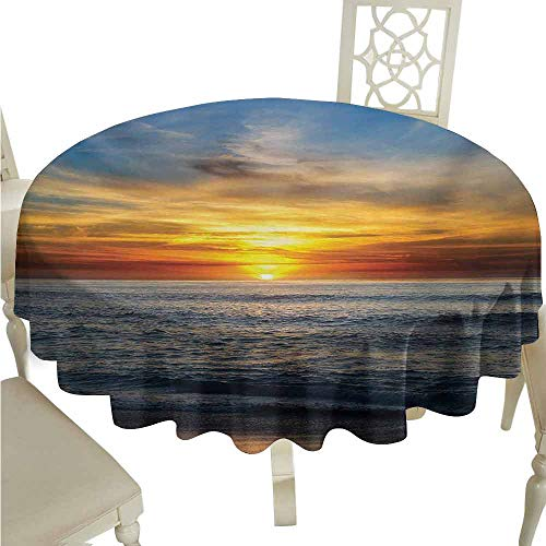 duommhome Ocean Spill-Proof Tablecloth Sunset Over Pacific Ocean from La Jolla California Sun Rays Colored Sky Photo Print Easy Care D59 Orange Blue