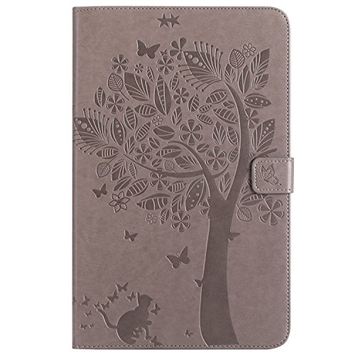Samsung Galaxy Tab E 9.6 Case, BONROY® Samsung Galaxy Tab E SM-T560 9.6 Smart Case Cover Girl and Cat pattern series Ultra Slim Smart-shell Built-in Stand Auto Wake/Sleep For Samsung Galaxy Tab E SM-T Cats and tree - gray