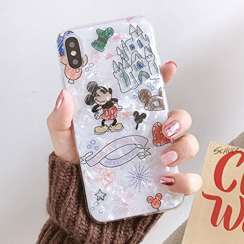Maxlight Mickey Mouse Minnie Phone Case for iPhone Xs MAX XR X Colorful Conch Shell Soft TPU Cover for iPhone 7 8 Plus Case (A, for iPhone X XS) (Iphone 4s Mickey Mouse Case)