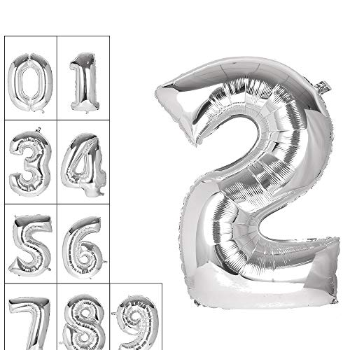 Lovne 40 Inch Silver Number 2 Balloon Birthday Party Decorations Helium Foil Mylar Number Balloons 0 to 9